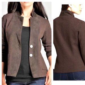 Eileen Fisher Notch Collar Wool Suede Brown Jacket
